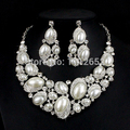New Fashion Bridal Jewelry Sets Pearl Crystal Gold Plated African Necklace Earrings For Brides Party Prom Wedding Accessories