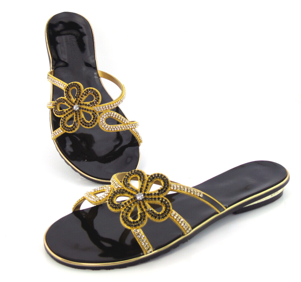 doershow Series of slippers black!Latest pattern African shoes and free shipping, top quality Italian ladies shoes ! !!DD1-63 doershow african shoes and bags fashion italian matching shoes and bag set nigerian high heels for wedding dress puw1 19