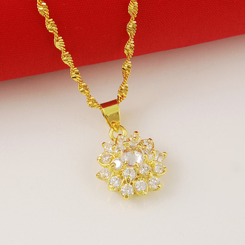 Collar con colgante de oro de 24 K de lujo para mujer,...