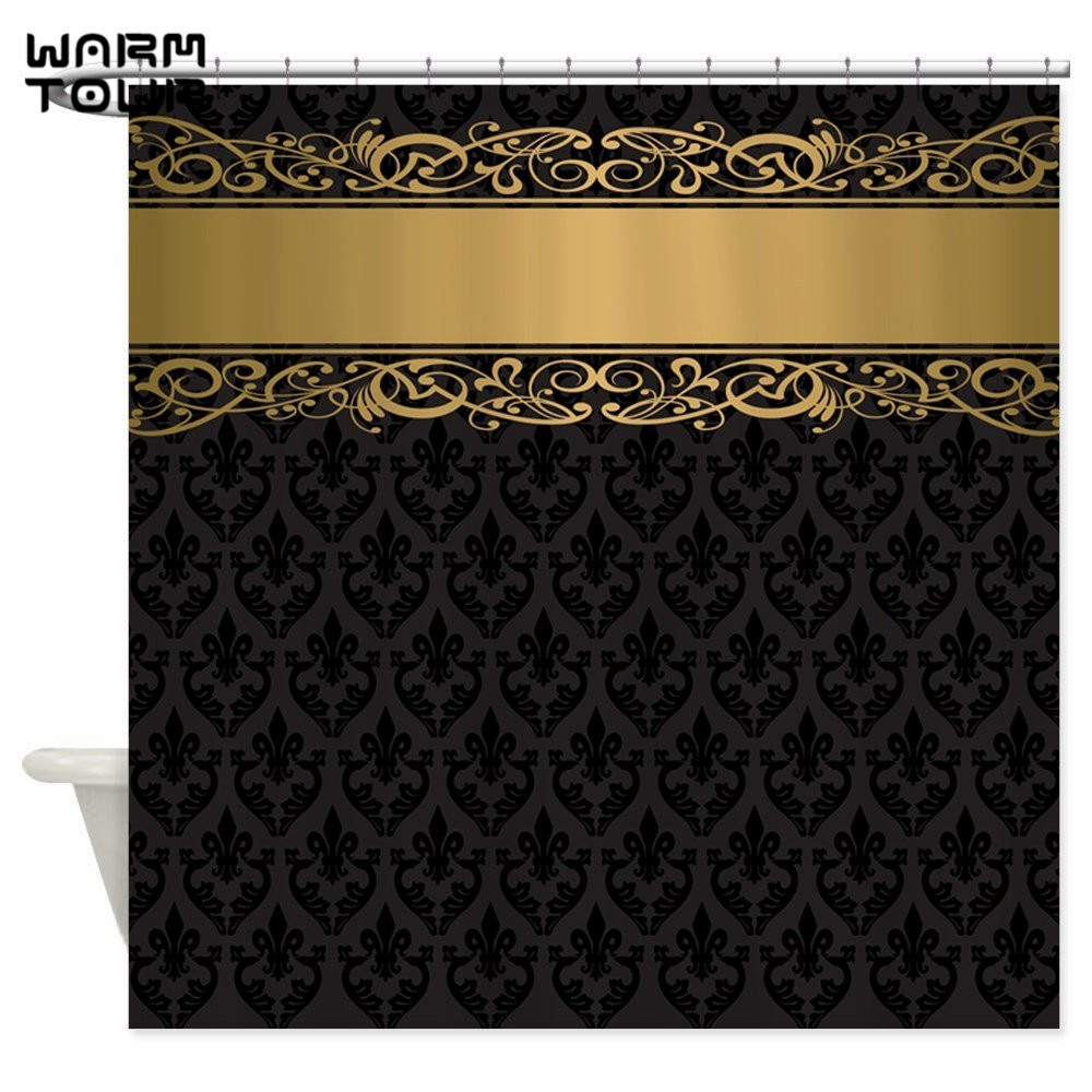 Warm Tour Golden Stripe Vintage Damask Decorative Fabric Shower Curtains Polyester Waterproof Bathroom Curtain WTC115