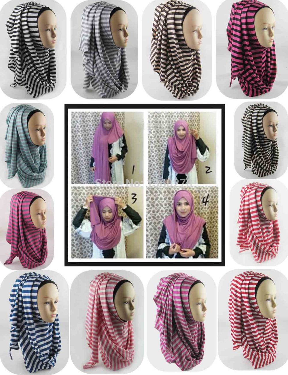 12 pieces lot stripe instant hijab shawl cotton jersey scarf amira hijab scarves JLS129