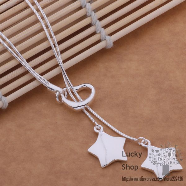 AN490  silver plated  Necklace, 2016 silver fashion jewelry  Tai chi solid star / daualsba