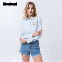 Dioufond Embroidery Print Fox On Pocket Shirts Lady 2017 Spring New Fashion White Blue Pink Blouse