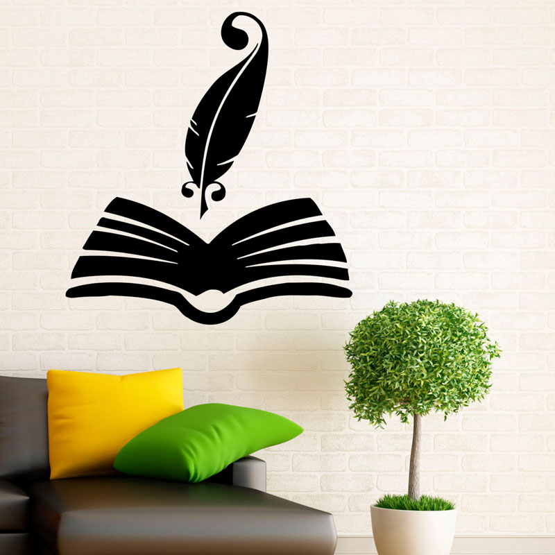 ZOOYOO Funny Feather Books Wall Sticker Home Decor Reading Room Decoration Kids Children Room Wall Decals Murals