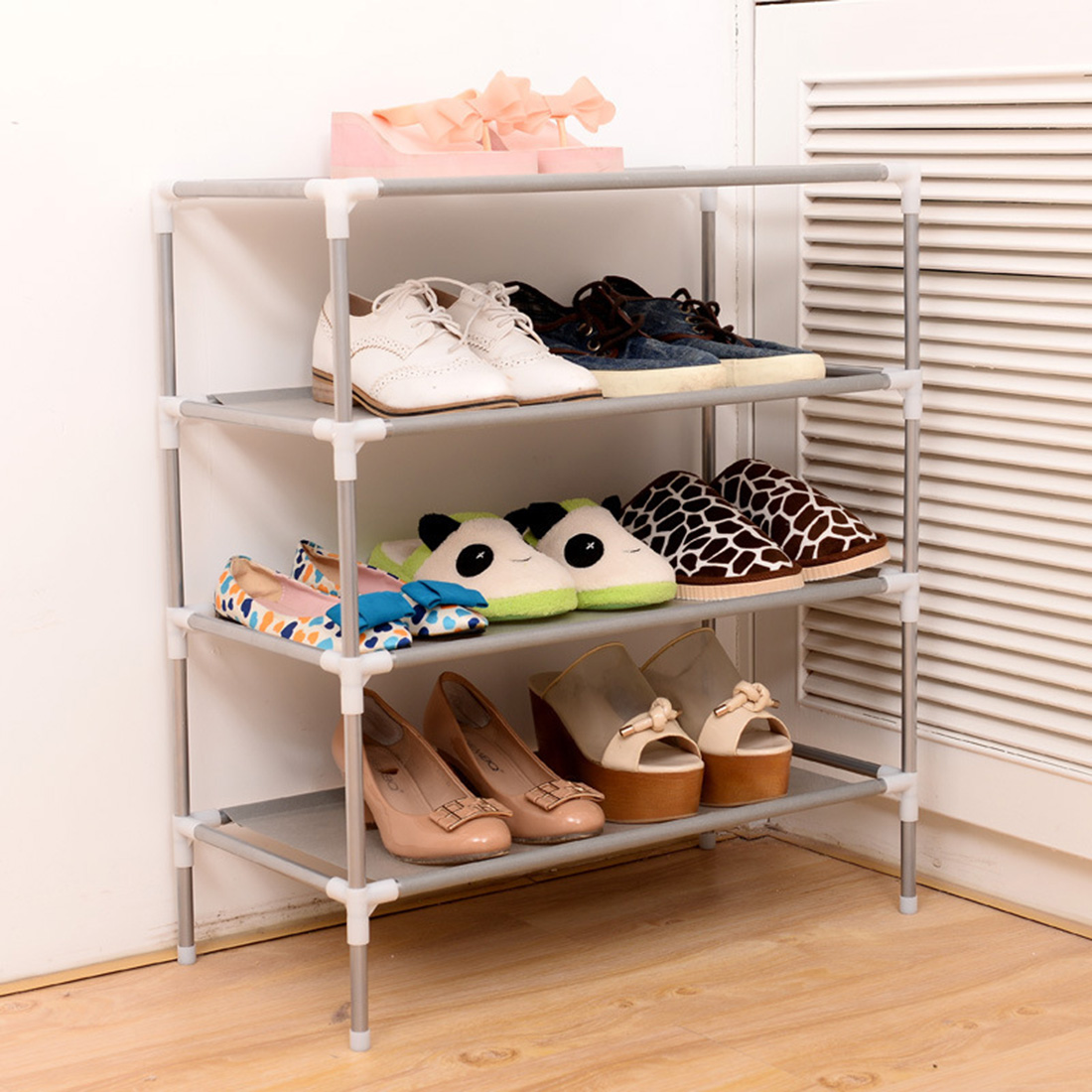 Useful Living Room Furniture Portable Shoe Racks Folding Multilayer Non Woven Fabric Combination Dustproof Shoes Shelf