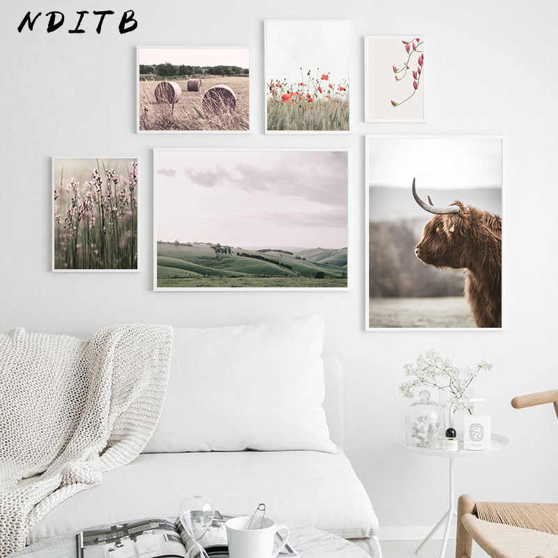 Scandinavian Poster Nordic Nature Grass Field Wall Art Canvas Print Painting Decorative Picture Modern Living Room Decoration