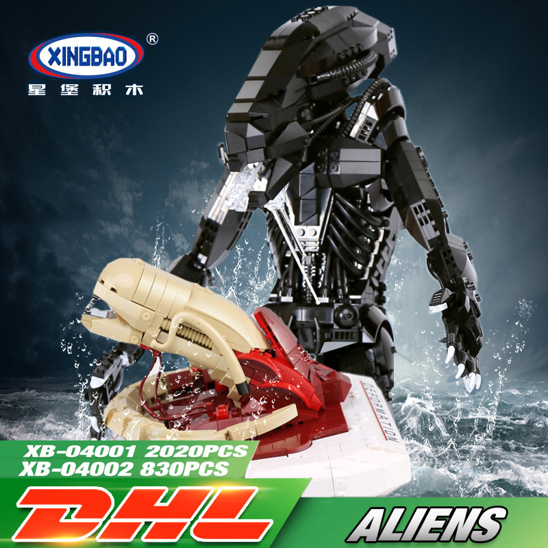XingBao 04001 + 04002 Creative Movie Series Alien Clone Robot LegoINGly Model Sets Building Blocks Bricks Toys For Boy children loz diamond blocks dans blocks iblock fun building bricks movie alien figure action toys for children assembly model 9461 9462