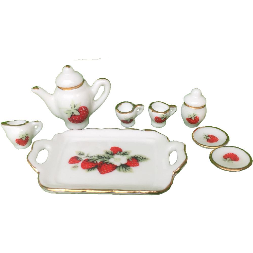 1:12 Dollhouse Porcelain CHINA Tea Set Strawberry 8PCS  #DC006B