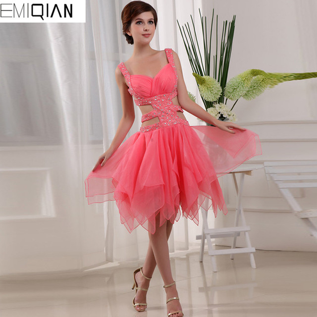 Homecoming Dresses Tulle New Crystals Cheap Pink Short Junior High Cute 8th  Grade Graduation Beautiful dc2d94361