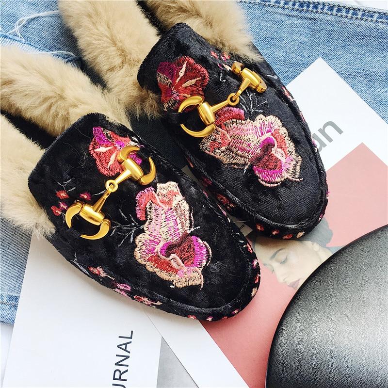 2019 Calidad Mulas Planos Piel Cuero Negro Alta Bordar Mujeres Zapatos Las Invierno De Real Pisos Moda gris Conejo Nueva Dama ZTapqZrwx