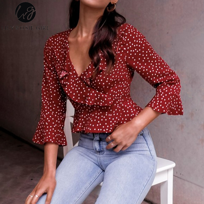 Lily Rosie Girl V Neck Sexy Ruffles   Blouse     Shirt   Long Sleeve Short Blusa Feminina Polka Dot Crop Tops   Blouse   2018