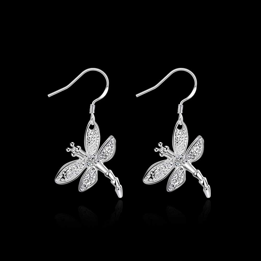 E009 Wholesale Fashion silver plated jewelry earrings drop dangle lady gift classic hot women cz dragonfly sale