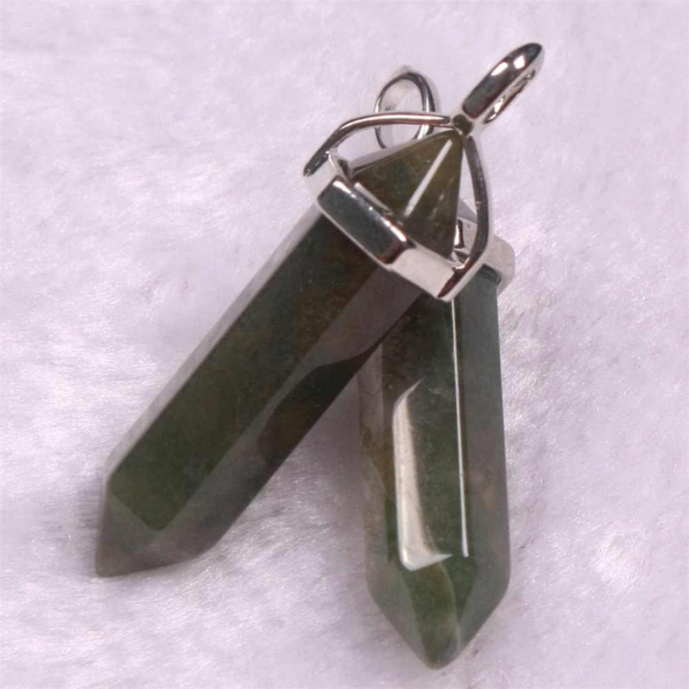 六角柱天然水晶石の魅力ペンダント血液石ネックレス Amethyste 振り子女性の Diy のジュエリーホット販売