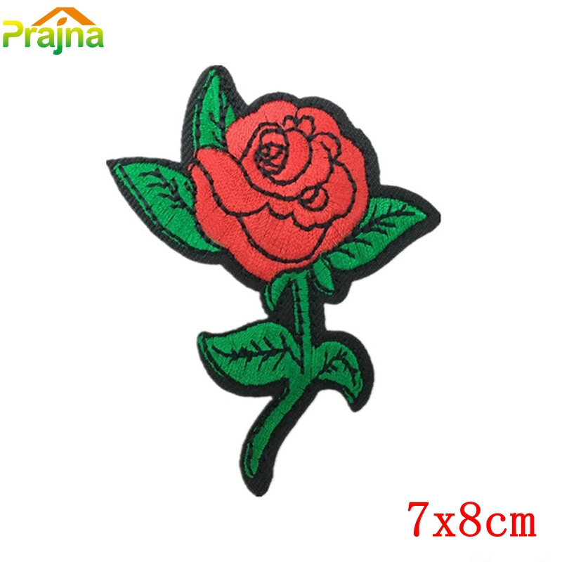 Red Rose Flower Emoji Rainbow Iron On Applique Embroidered Patch Patches Bagde
