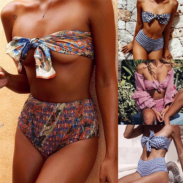 e5d95c8b95 High Waist Bikini Women Bandeau Bikini Set Plaid Vintage Swimwear Biquini  Wrinkle Swimsuit Bow Bath Suit Maillot De Bain