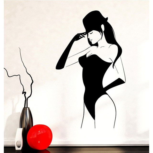 2018 New Fashion Woman Wall Stickers Cool Girl Bedroom Decor
