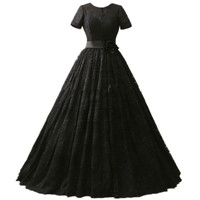Gothic Style 2017 Black Lace Wedding Dresses Short Sleeve Flower Belt A Line Vintage Bridal Gowns