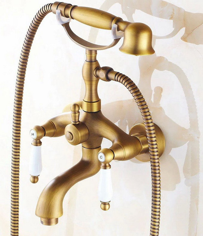 Antique Brass Wall Mounted Bathroom Tub Faucet Dual Ceramics Handles Telephone Style Hand Shower Clawfoot Tub Filler atf315Antique Brass Wall Mounted Bathroom Tub Faucet Dual Ceramics Handles Telephone Style Hand Shower Clawfoot Tub Filler atf315