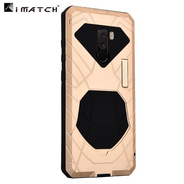 Original IMATCH quotidien étui étanche pour Xiaomi POCOPHONE F1 luxe métal Silicone couverture 360 Protection complète étuis de téléphone