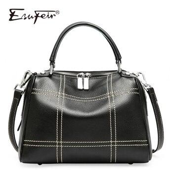 100% Genuine Leather women Handbag Crossbody Bag Soft Real Cow Leather Women Shoulder Bag Fashion Purse Tote bags for women 2018