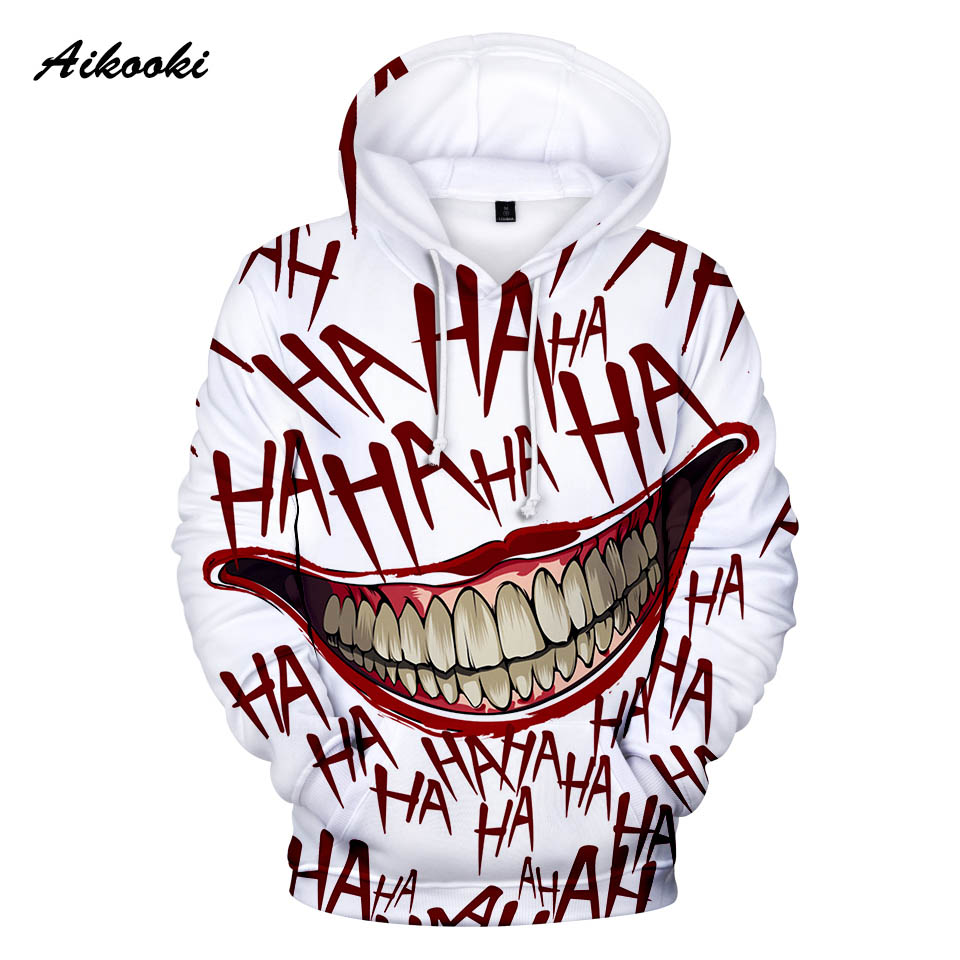 Aikooki Joker Sweatshirt Tracksuit Pullover Winter Hoodies Suicide Squad Smile Halloween