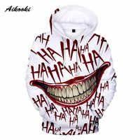 Aikooki HAHA Joker Hoodies Men/Women Halloween Crazy Smile Winter Hoodies Mens Joker Sweatshirt Pullover HAHA Tracksuits Coats