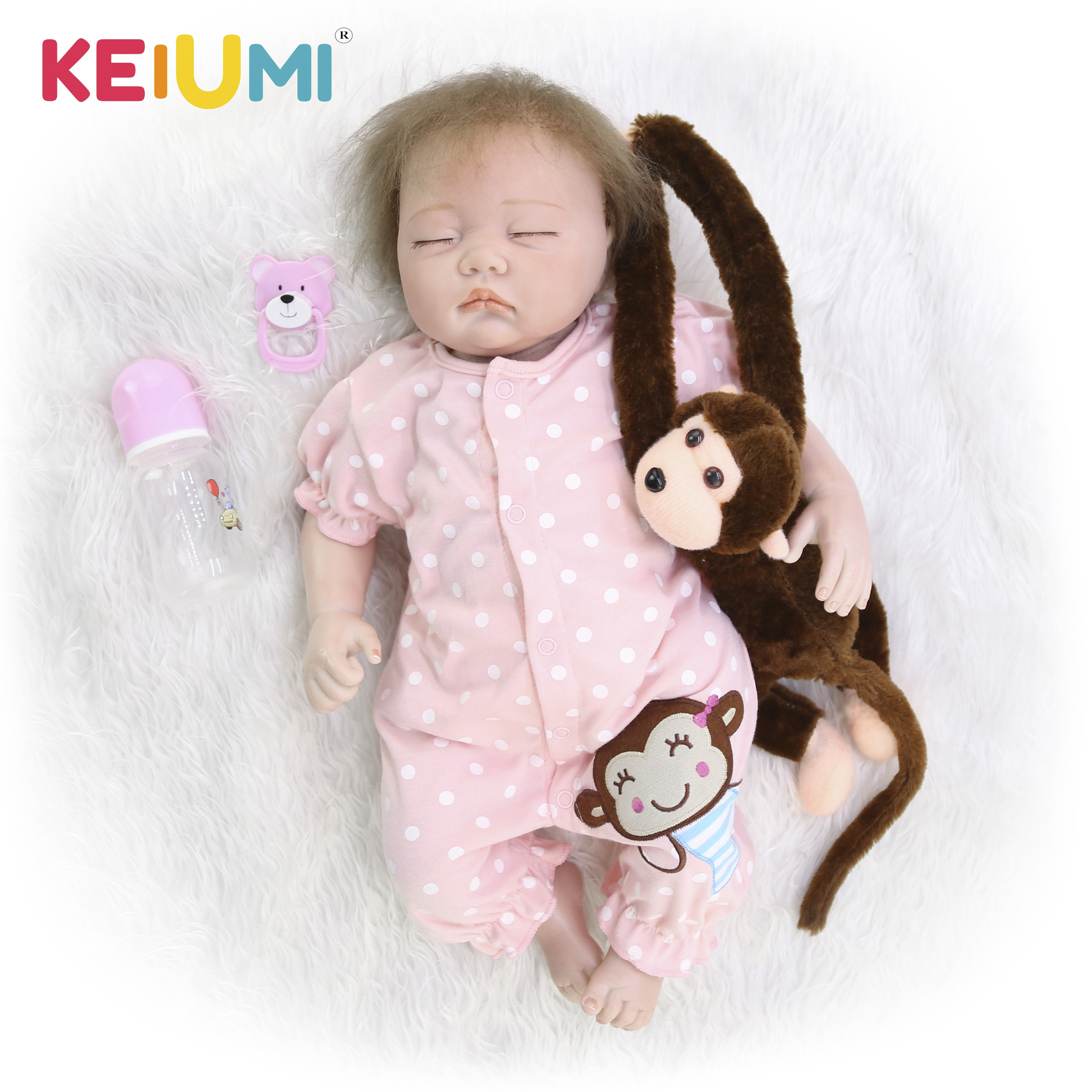 Real Lifelike Reborn Baby Doll 20 Inch Sleeping Princess Girl Babies Silicone Newborn Doll Toy With Curved Mohair Kids Playmate-in Muñecas from Juguetes y pasatiempos    1