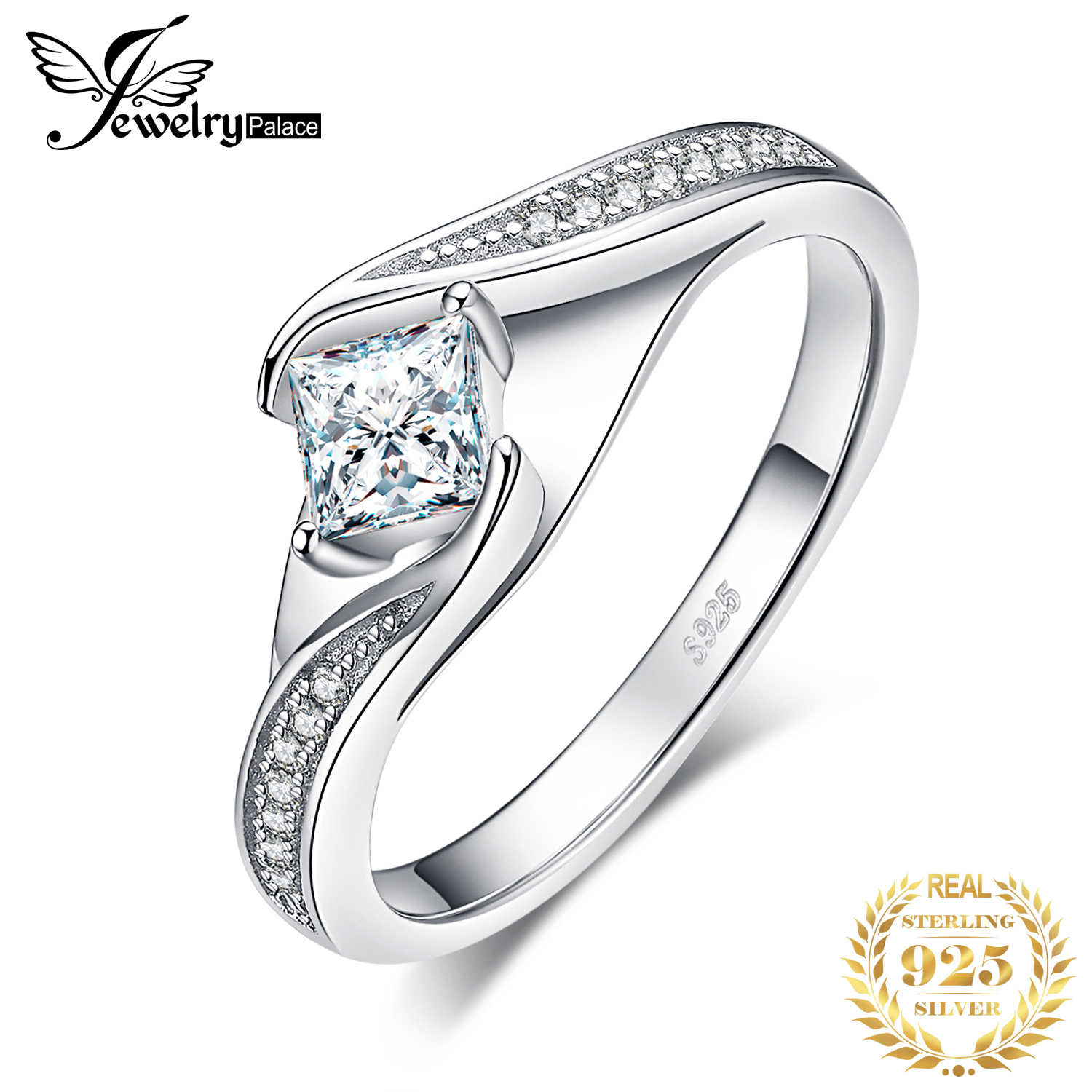 JewerlyPalace Princess Cut Cubic Zirconia Promise Rings 925 Sterling Silver Wedding Engagement Rings Anniversary Gifts for Women