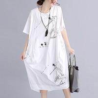 Plus Size Women cotton linen Clothing Big Size White Dress Summer loose Dresses 2018 new Long Vestido print flower dress QH1375