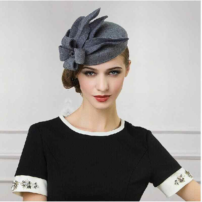 100% Australian Wool European American Luxuries wool felt hat cap women fashion bone chapeau fedora Pillbox hat for woman HT-102