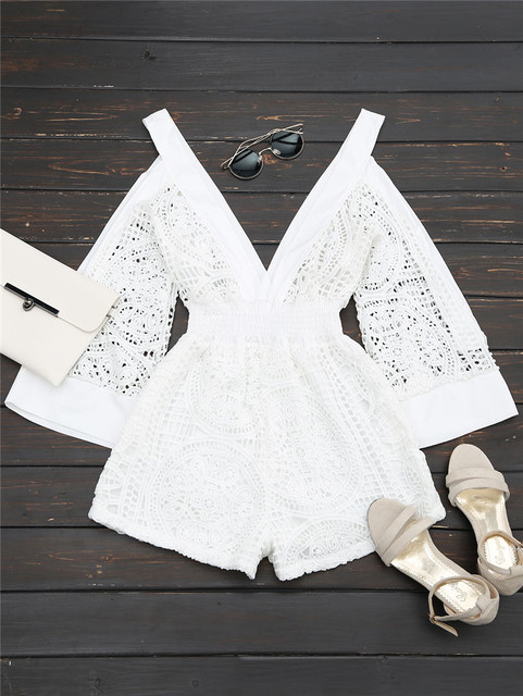 82b3cc29d56605 Gamiss Women Low Cut Cold Shoulder Hollow Out Romper Long Sleeve Deep V  Neck Female White