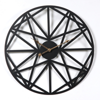 New 50CM Creative Retro Circular Wall Clock Household Five Pointed Star Pattern Iron Hanging Clocks Roman Numerals Sale Black