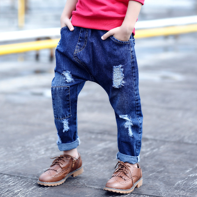 b411aa006a14 Hip Pop Fashion Street 2017 Spring Autumn New Torn Jeans Ripped Hole Ripped  Boyfriend Loose Jongens Jeans pants For boys 3-12T