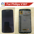 100% Original FOR Philips Xenium V387 LCD  Display With Touch Screen Digitizer Glass Assembly with Frame By Free Shipping