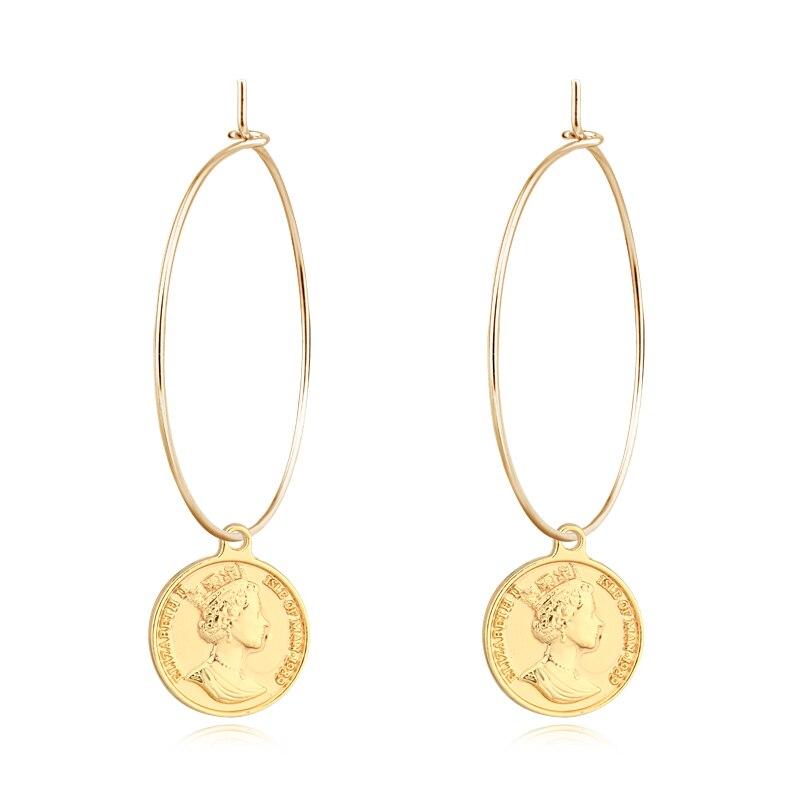 3821c1e08 1 Pair European Retro Trend exaggeration Coin Pendant Hoop Earrings Gold  Silver Color Engraving Humanity Coin