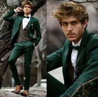 men suit dark green leisure suit formal occasion business handsome suit two piece lapel wedding best men suit