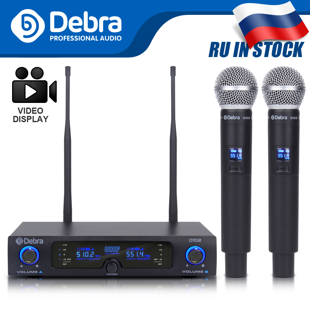 Perfect Sound Quality!Debra D-102 UHF Wireless Dual Handheld Microphone Mics System For Perform Show Church Speech Karaoke Party