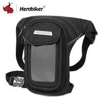 HEROBIKER Motorcycle Bag Waterproof Motorcycle Tank Bag Punk Waist Leg Bag Motorcycle Saddle Multi functional Pockets Black