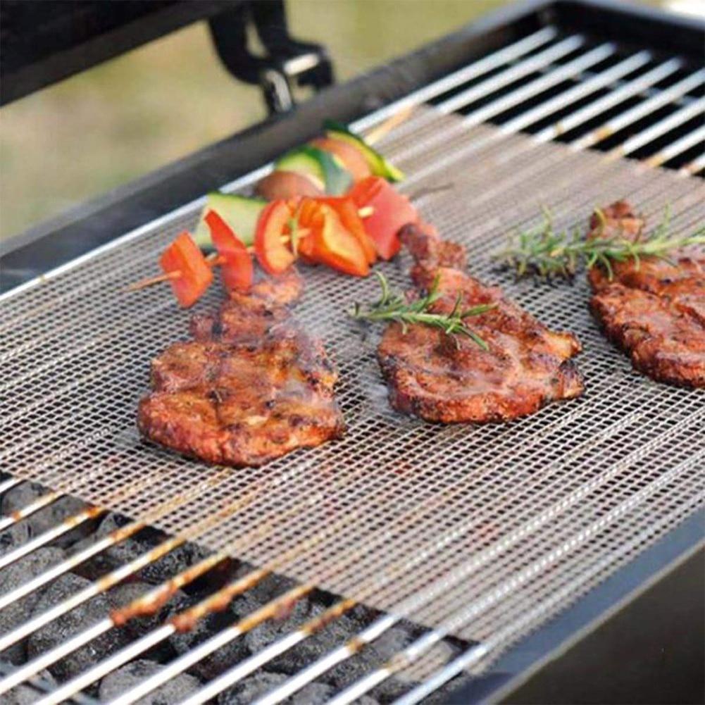 Teflon Barbecue Mat Non Stick BBQ Mesh Grill Mat Cooking Sheet Churrasco Barbecue Liner Roaster Tools