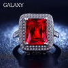 2016 New Fashion White Gold Filled Red Zircon Ring Set Luxury 4 Carat Ruby Engagement Rings