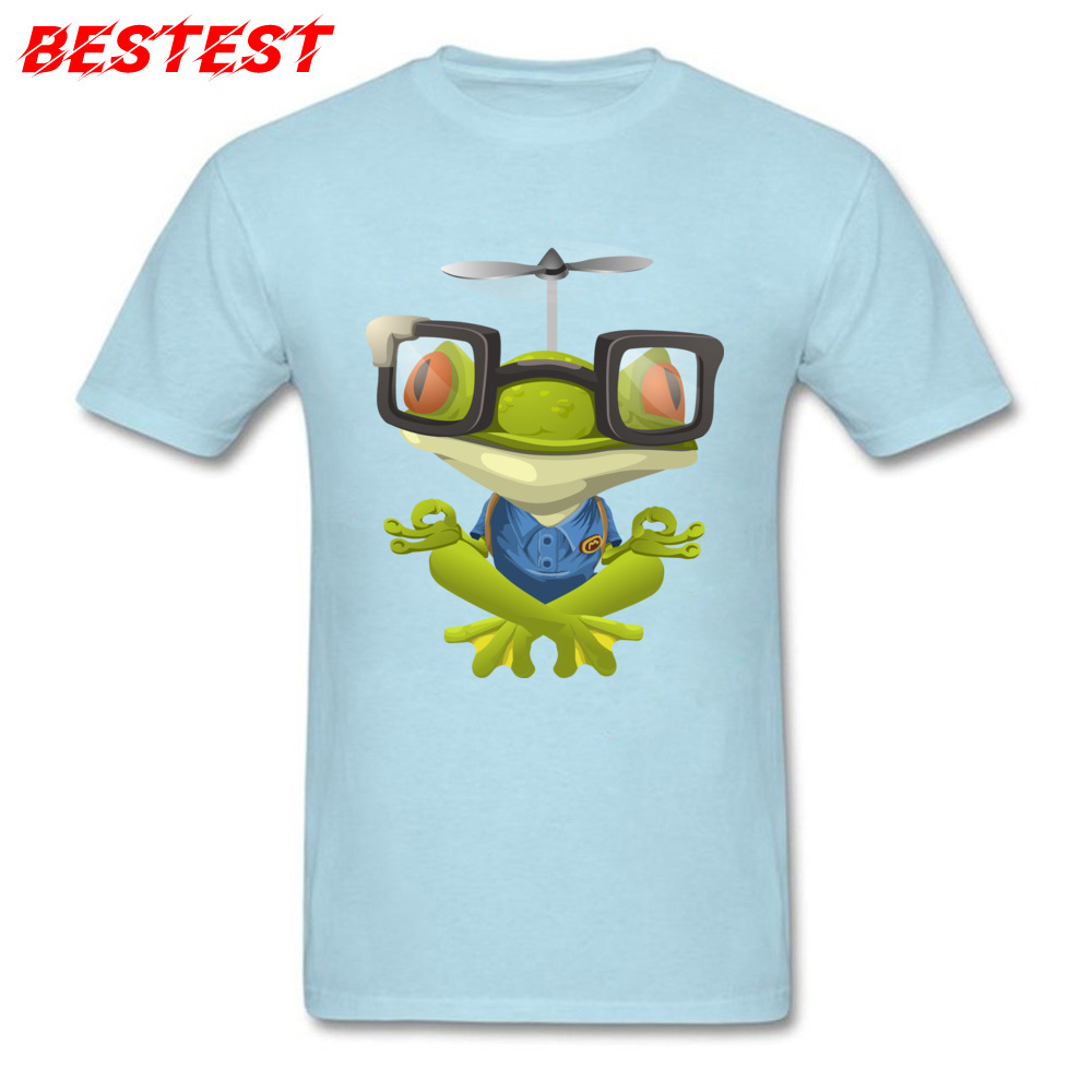 Funny T-shirt For Men Blue T Shirt Meditate <font><b>Frog</b></font> 3D <font><b>Tshirt</b></font> Hipster Tops Pilot Style Clothes Crew Neck Cotton Tees Punk Style image