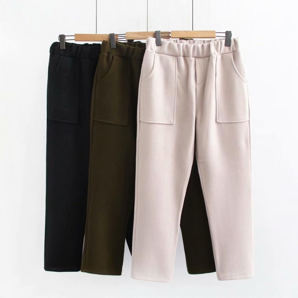 Plus size woolen women Cross pants 2019 winter casual ladies loose Elastic waist trousers female oversized black pockets pant
