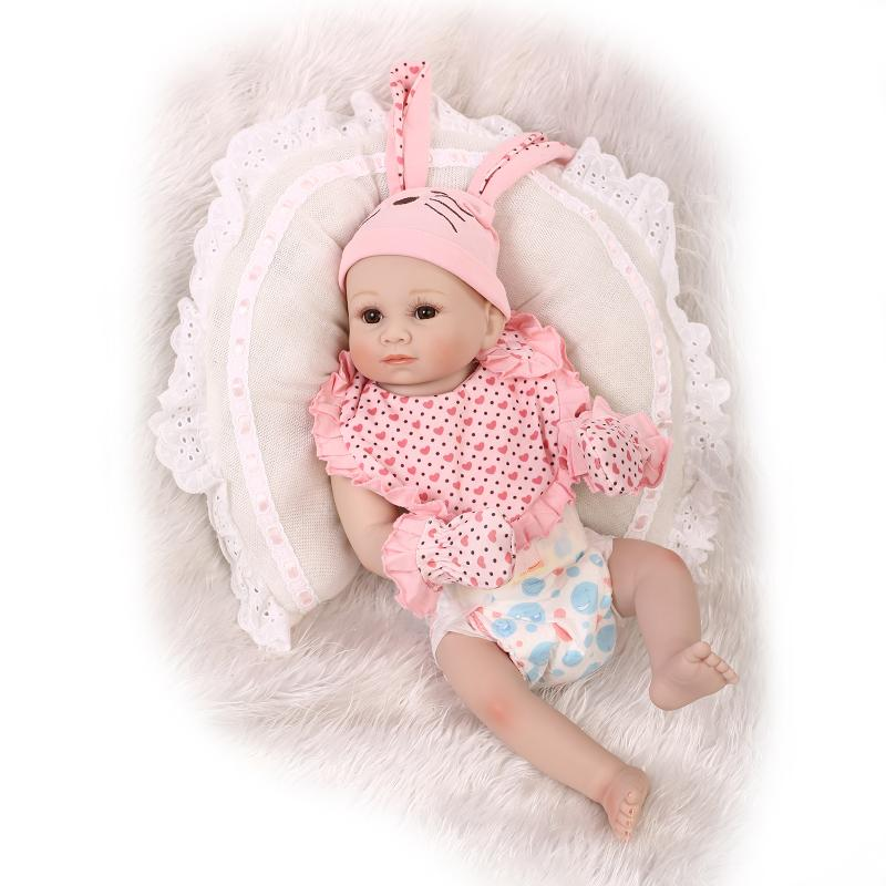 50cm Cute girl reborn baby dolls full menina de silicone reborn bonecas brown eyes baby newborn for girl toy safe and non-toxic50cm Cute girl reborn baby dolls full menina de silicone reborn bonecas brown eyes baby newborn for girl toy safe and non-toxic