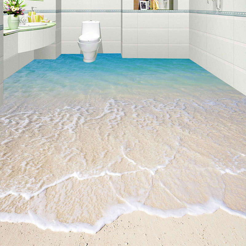 Custom Self-adhesive Floor Mural Wallpaper Modern Beach Seawater 3D Floor Tiles Sticker Bathroom Kitchen Papel De Parede 3D Sala