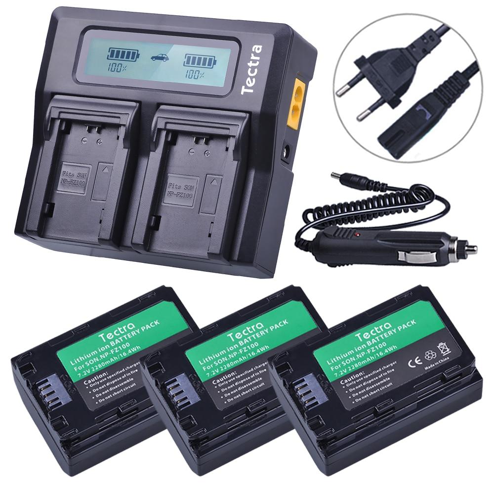 3 piezas NP FZ100 NP-FZ100 NPFZ100 batería + AC rápido cargador Dual del LCD para Sony ILCE-9, BC-QZ1, a7r3, A7RIII, ILCE-7RM3, A9R, 7RM3