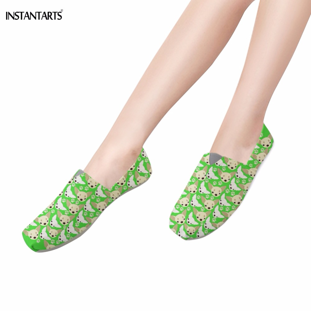 INSTANTARTS Kawaii 3D Animal Chihuahua Print Teen Girls Lazy Cloth Shoes Casual Slip On Footwear Fashion Summer Green Flat Shoes