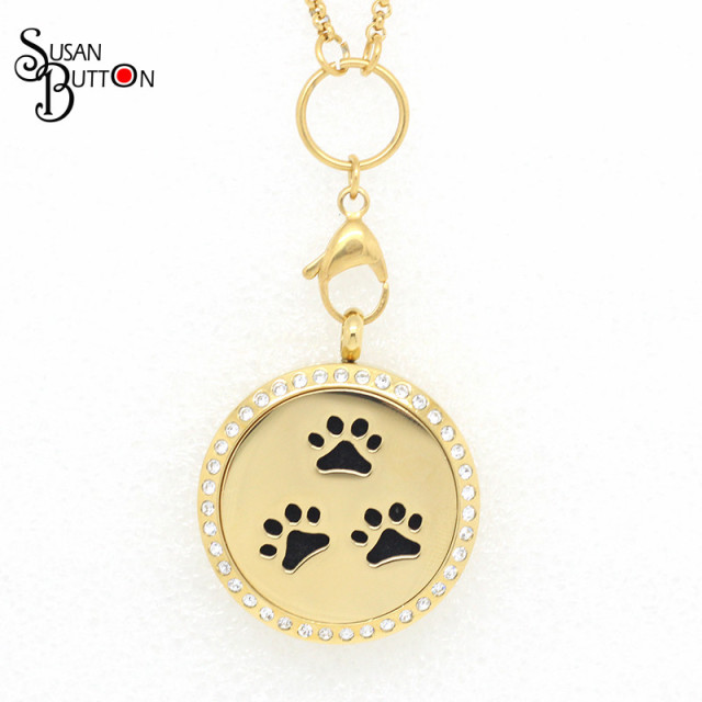 perfume paw cat necklace locket dog product pawprint aromatherapy wholesale lockets new essential oil stainless jewelry diffuser pendant steel print