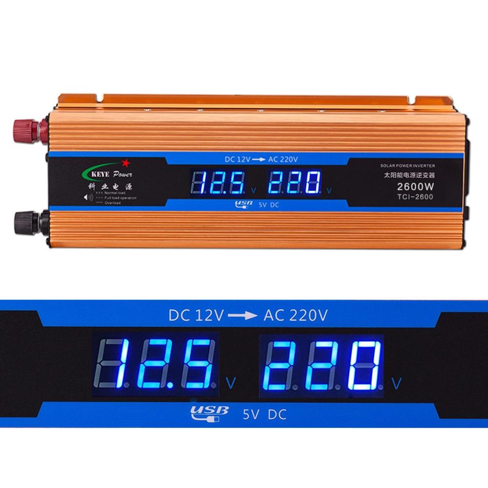 Car inverter 2600W dc 12V to ac 220V Digital display Voltage Modified Sine Wave Power Overload Protection CY901-CN digital display vehicle 2000w usb car power solar inverter converter 12v dc to ac 220v usb charger adapter portable voltage