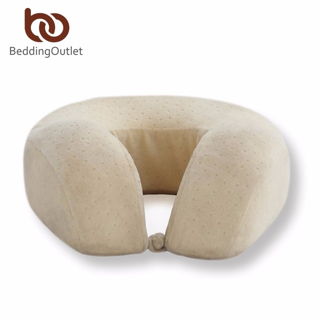 BeddingOutlet U-Shaped Pillow Airplane Sleeping Pillow Travel Comfortable Cushion Memory Foam Car Neck Pillows for Office Rest