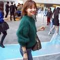 2016 новый горячий продажа женская осень зима Половинной высоты воротник мохер свитера девушку сгущает фонарь рукавом свободные пуловеры пальто